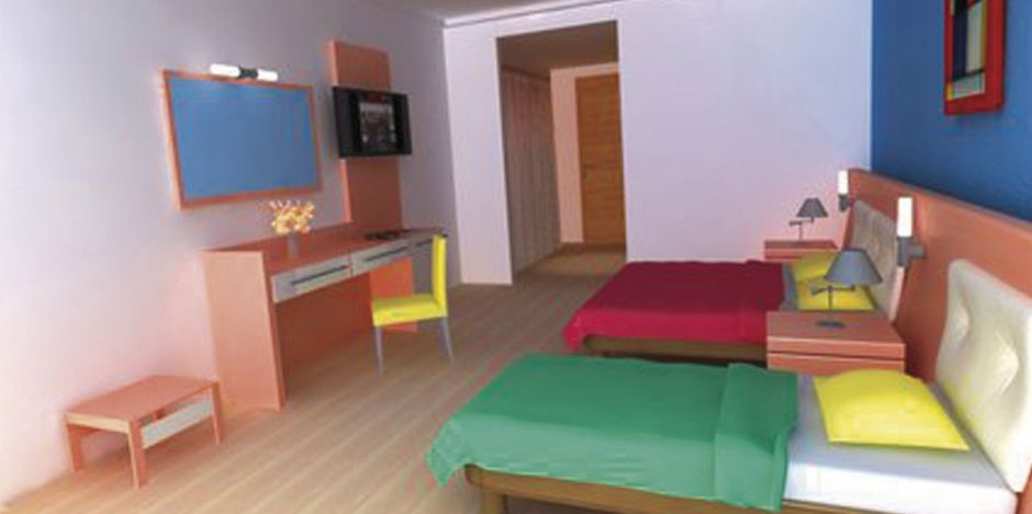 Farbenfroh: Zimmer im Smartline-Hotel The Colours Side