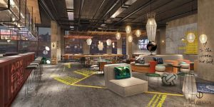 Cooler Look: Lobby im Moxy Hamburg City